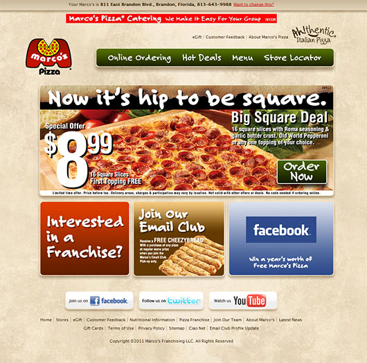 Marco's Pizza - Sites em Joomla