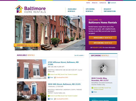 Baltimore Home Rentals - Sites em WordPress